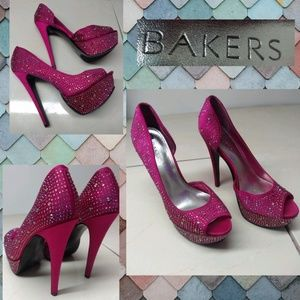 Baker's Hot Pink Stiletto Platform Sparkly Heels